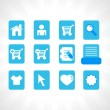 Collection of vector icons on blue — Stock Vector