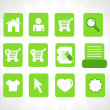 Collection of vector icons on green — Stock Vector