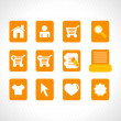 Collection of vector icons on orange — Stock vektor