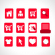 Collection of vector icons on red — Stock Vector