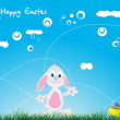Easter bunny and eggs over green grass — Stock Vector
