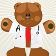 Rays background with doctor bear -  