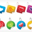 Colorfull vector tags with shiny heart - Grafika wektorowa