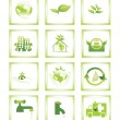12 ecology icons wallpaper — Stock Vector #2489629
