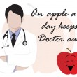 Medical background with doctor and apple — Image vectorielle