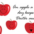 Apple background with slogan — Imagen vectorial