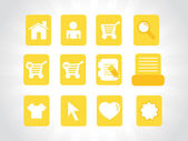 Collection of vector icons on yellow — Stock Vector