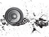 Loudspeaker grunge background — Stock Vector