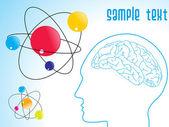 Human brain, atomic structure — Stock Vector