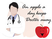Medical background with doctor and apple — Vector de stock