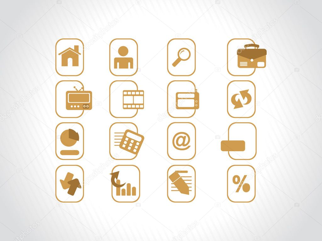 Complete web Icons collection, khaki  Stock Vector #2488009