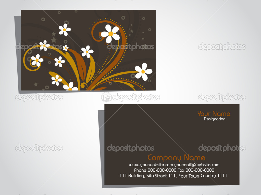 Abstract creative floral pattern business card, vector illustration  Stock Vector #2488716