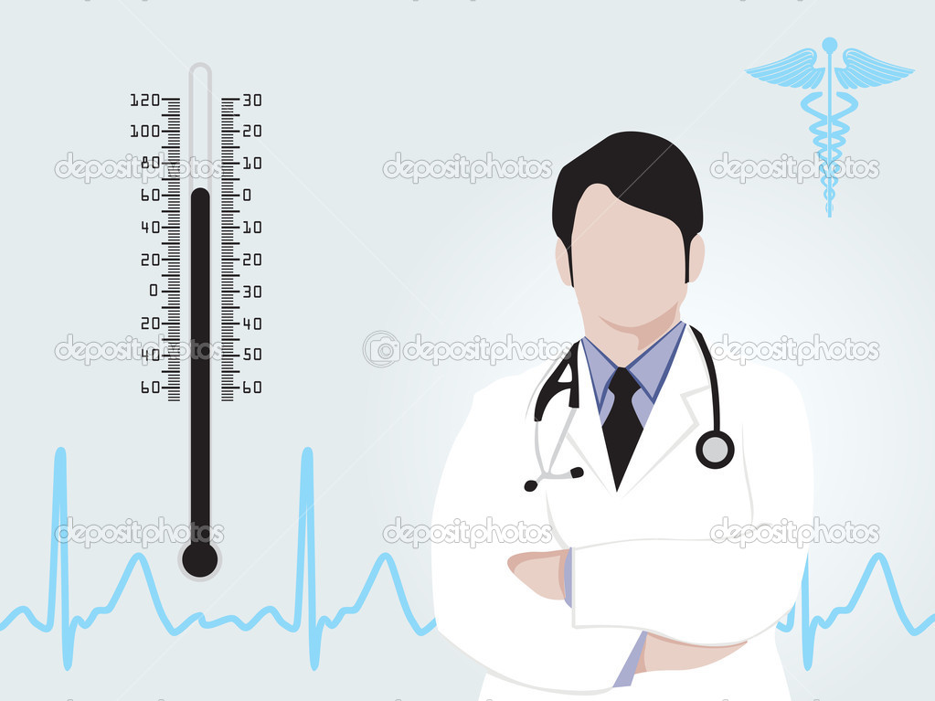 Medical background with doctor silhouette, caduceus, heartbeat amd thermometer, vector illustration — Stock Vector #2489883