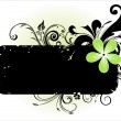 Black floral pattern banner — Stock Vector
