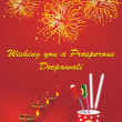 Firework background with diya, cracker - Stock Vector