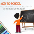 Stock Vector: Boy standing in front of blackboard