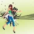 Dancer on grunge retro background — Imagen vectorial