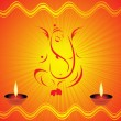 Royalty-Free Stock Vektorgrafik: Rays background with diya, ganpati
