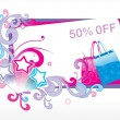 Upto 50% discount on fancy bags - Stok Vektör