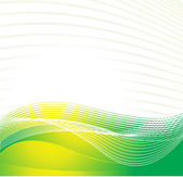 Cyber waves lines in yellow and green — Stock Vector