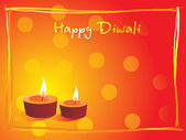 Deepawali background with deepak — Stock Vector