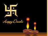 Deepawali background with deepak — Stock Vector