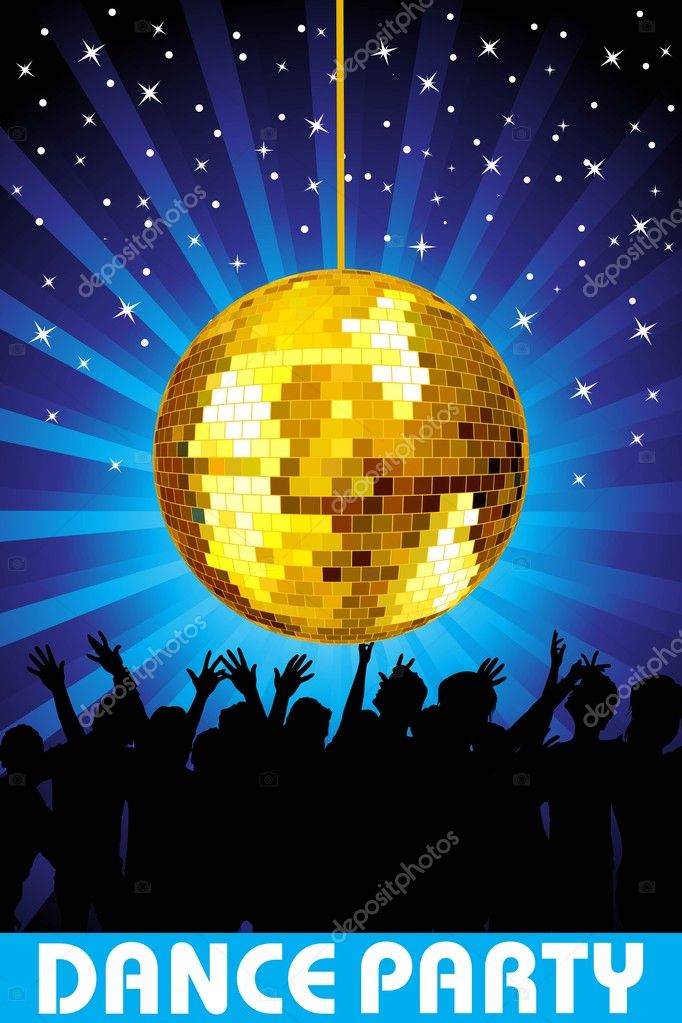 Abstract twinkle star blue rays background with hanging disco ball, audience — Stock Vector #2504011