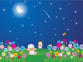 Flower garden in the moon light — Stock Photo