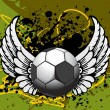 Grunge background with ball, wing - Grafika wektorowa