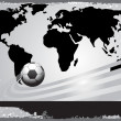 Black world map with soccer — Stock Vector