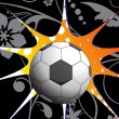 Floral background with soccer - Grafika wektorowa