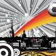Retro cityscape background and soccer - Grafika wektorowa
