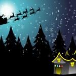 Flying santa sledge; illustration — Stock Vector