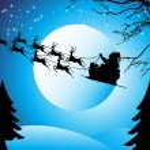 Flying santa sledge, wallpaper — Stock Vector