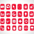 Exclusive series of web Icons in red — Stock Vector