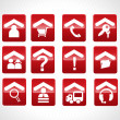 Exclusive red set of web 2.0 Icon — Stock Vector