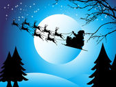 Flying santa sledge, wallpaper — Stock Vector