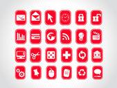Esclusiva serie di icone web in rosso — Vettoriale Stock