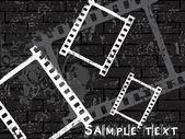 Empty film stripe on grunge wall — Stock Vector