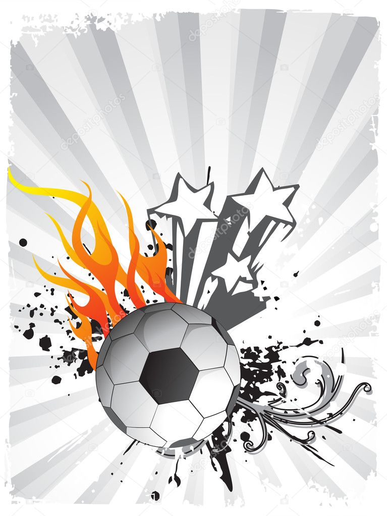 Vector illustration of soccer balls in flame with star, grunge — Stock Vector #2514156