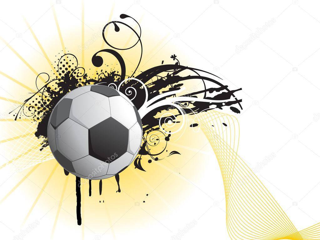 Grungy football with artistic design and wave illustration — Stock Vector #2514191