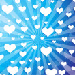 Flying hearts on blue background — Stock Vector