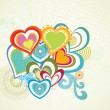 Seamless background with colorful hearts — Imagen vectorial