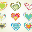 Set of colorful hearts with background — Stock Vector
