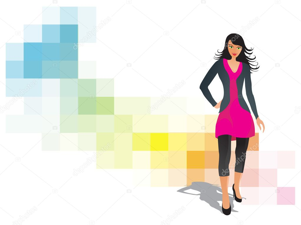 Fashion woman pose series, design10 — Stock Vector #2576786