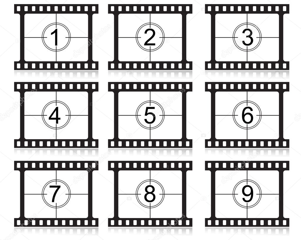 Film countdown numbers vector illustration — Stock Vector #2576827
