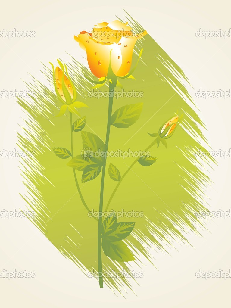 Abstrct texture background with isolated yellow rose — Stock Vector #2579375
