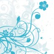 Vector blue grungy floral - Stock Vector