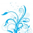 Stock Vector: Blue floral with white background