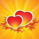 Floral bakgrund med hjärta — Stockvektor